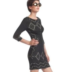 TRACY REESE Anthropologie Black Geometric Dress